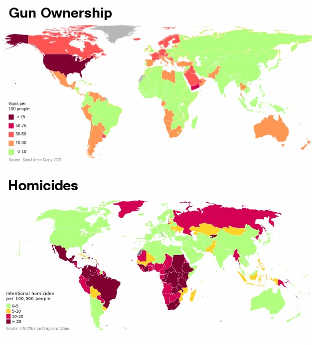 Homicide Rates In Context Jon Udell - Us gun murders map